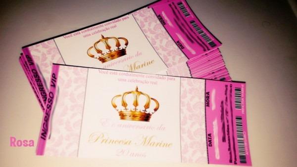 50 Convite Ingresso Vip Princesa Coroa Provençal Aniversário