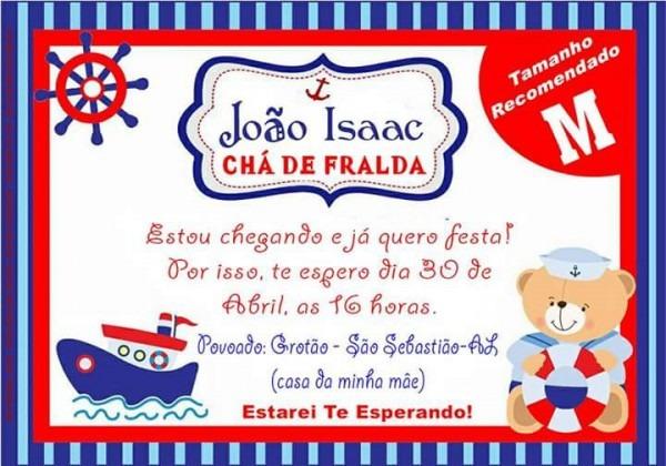 50 Convite Personalizado Urso Marinheiro Chá De Bebe