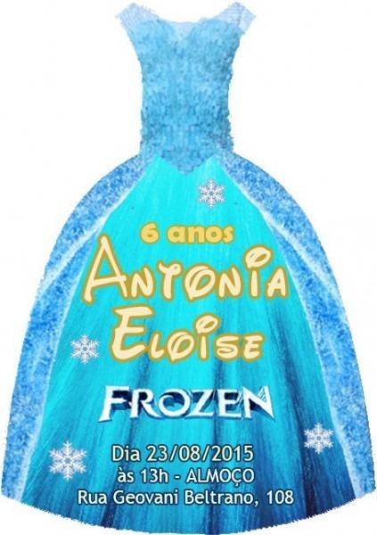 50 Convites Frozen Fever Forma De Vestido   Frete Grátis