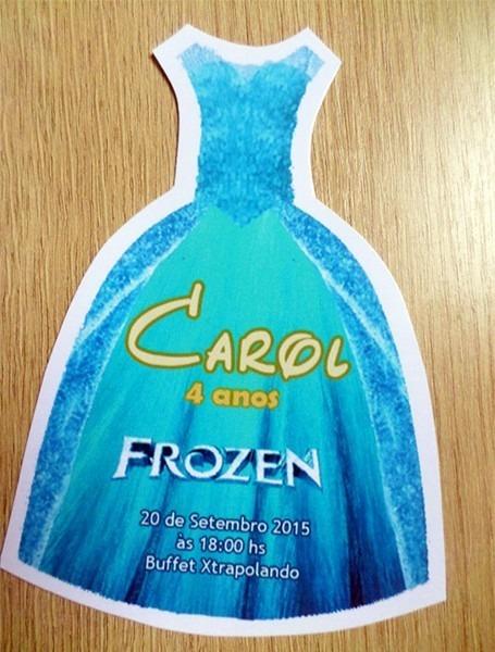 50 Convites Frozen Formato Vestido Elsa    Frete Grátis
