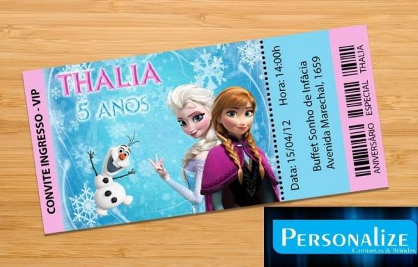50 Convites Ingresso Vip Frozen Aniversário