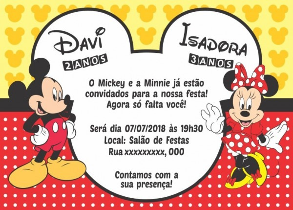 50 Convites Minnie E Mickey 10x7 Cm Aniversário Minie