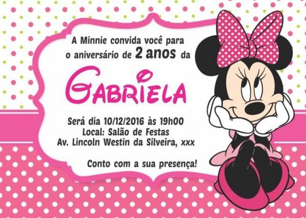 50 Convites Minnie Mine 10x7 Cm Mini Minie