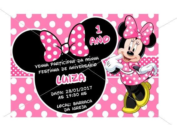 50 Convites Para Aniversário Tema Minnie Rosa
