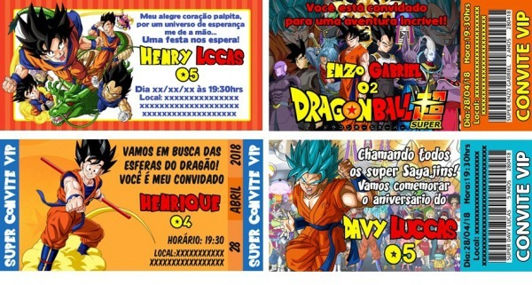 50 Convites Personalizados Vip Dragon Ball Z Super 14x7cm