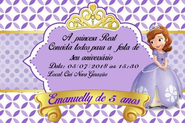 50 Convites Princesa Sofia 7x10 Frete Grátis