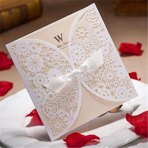 50 Pcs Convites De Casamento De Renda Elegante Fita Branca Em