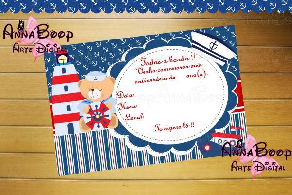 Convite Urso Marinheiro 01 (arte Digital)