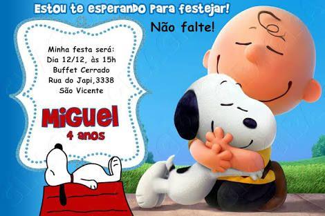 Resultado De Imagem Para Convite Aniversario Snoopy