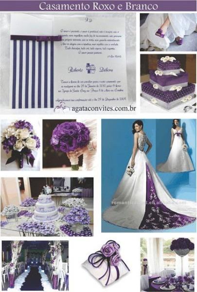 Decoração E Convite De Casamento Roxo E Branco