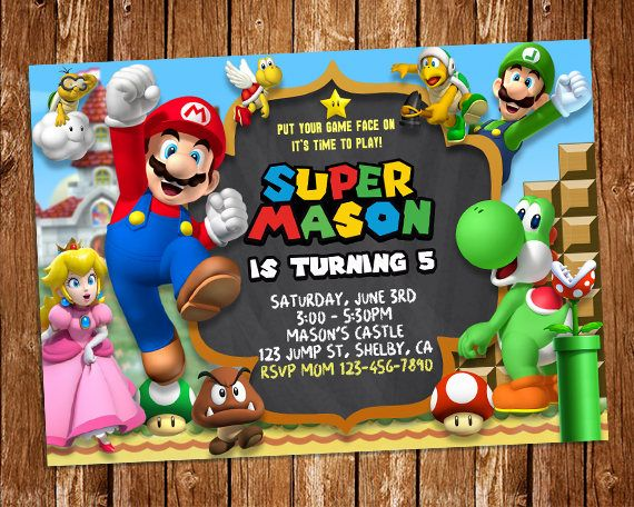 Super Mario Invitation, Super Mario Printable Invitation, Mario