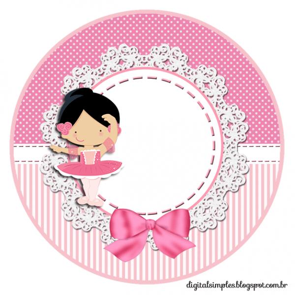 Kit De Personalizados Tema  Bailarina Rosa  Para Imprimir