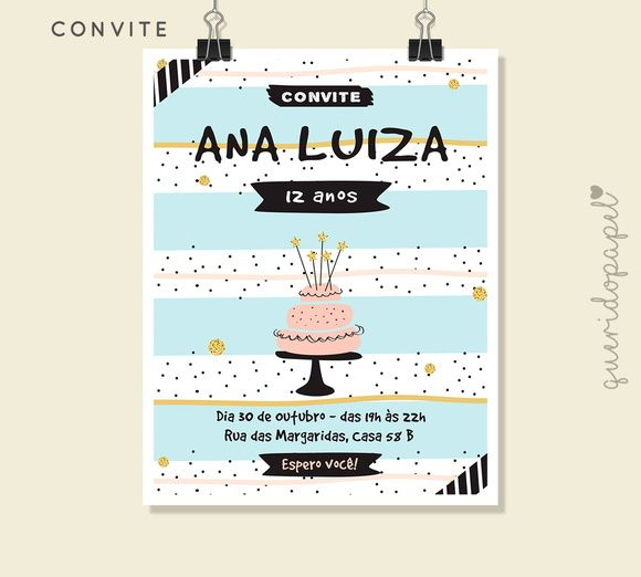Convite Listrado, Convite Para Festa De Adolescente, Convite