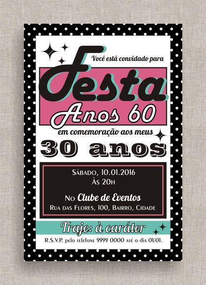 Convite Digital Aniversário 22 Festa Temática Anos 60, Anos 50