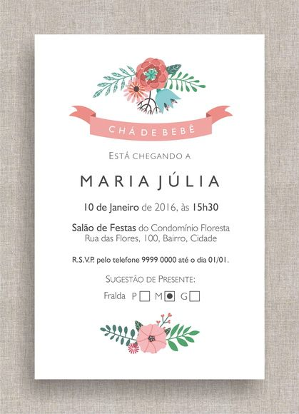 Convite Digital Chá De Fraldas 22 Chá De Bebê, Tema Moderno