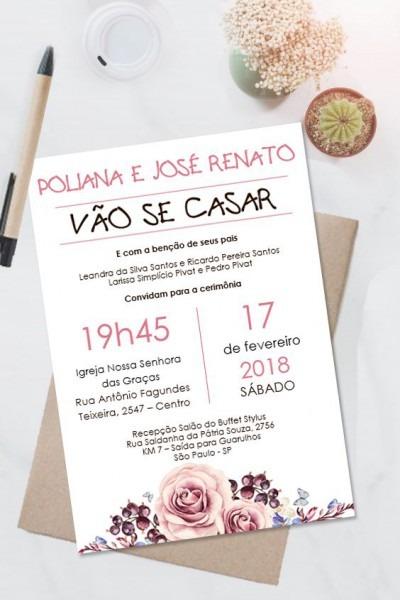 Convite Casamento Rose Floral Editavel No Word  □clique No Pin E