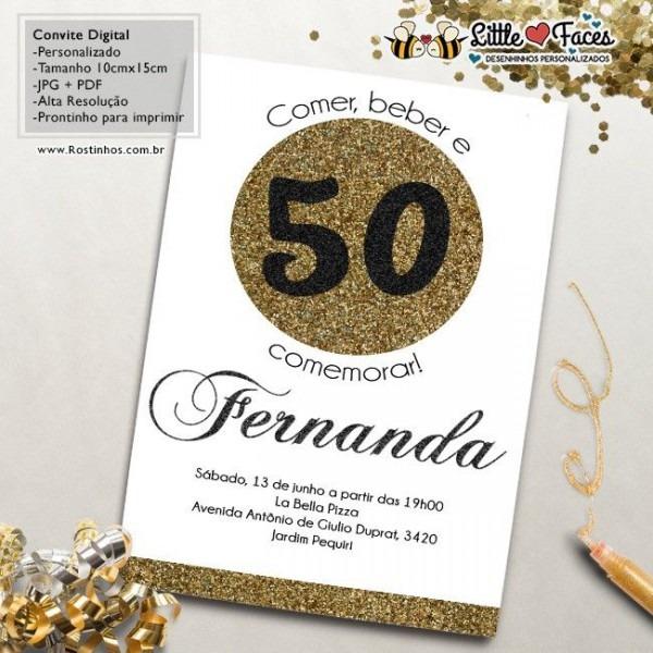 Convite Aniversário 50 Anos Para Imprimir …