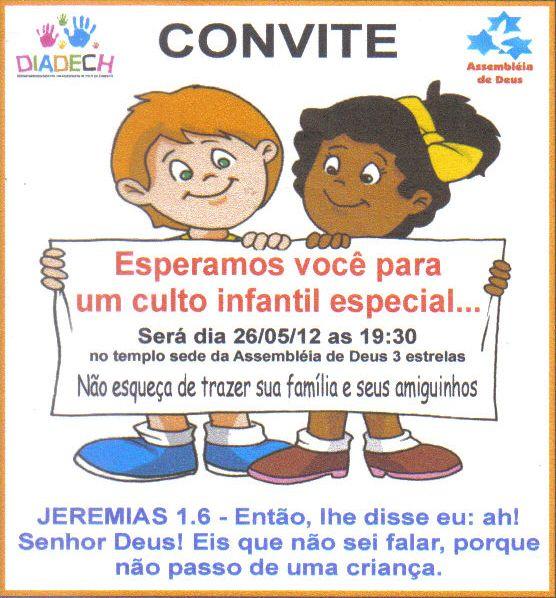 Convite Para Culto Infantil Especial – Convite Infantil