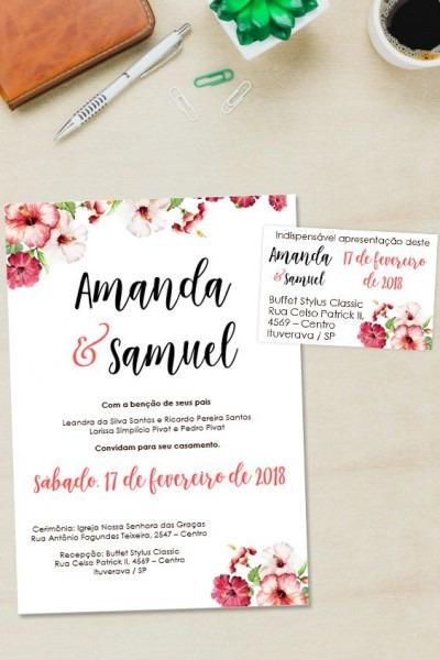 Convite Goiaba Floral Editável No Word □ Clique No Pin E Visite O