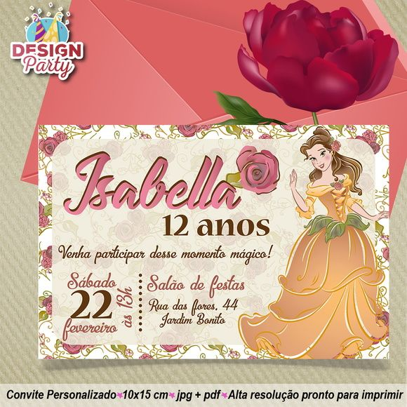 Convite Aniversário Bela