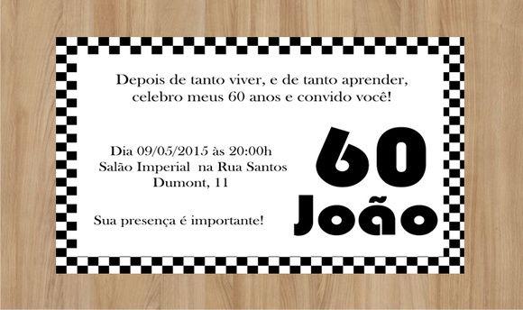 Convite Anos 60 10x7cm Impresso Em Papel Fotográfico 180g De Alta