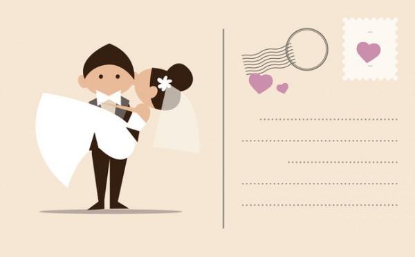 Personagem De Desenho Animado 卡文本 Fundo De Convite De Casamento