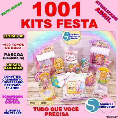 Arquivos Silhouette 1001 Kits Topos De Bolo Convites Caixas à