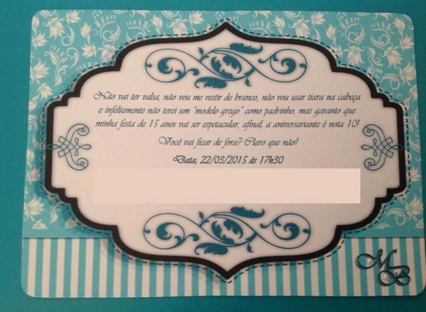 Convite Festa 15 Anos Azul Tiffany