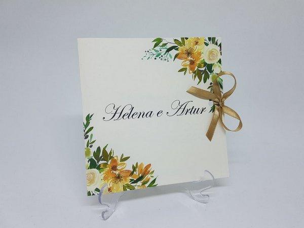 Convite Casamento Floral Amarelo E Verde
