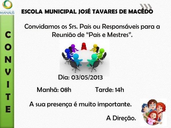 Escola Municipal José Tavares De Macêdo  Convite