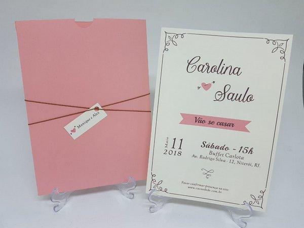 Convite Casamento Envelope Rose