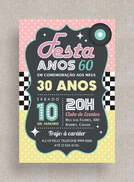Convite Digital Aniversário 28 Festa Temática Anos 60, Anos 50