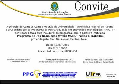 Convite Aula Inaugural — Universidade Tecnológica Federal Do Paraná