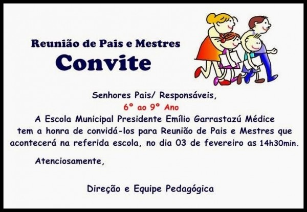 Resultado De Imagem Para Modelo De Convite Para Reunião De Pais E