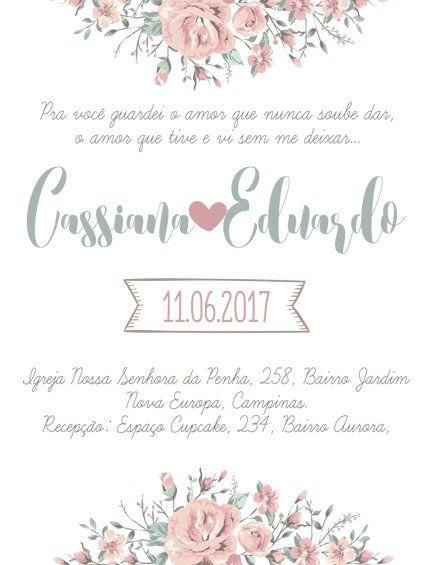 Convite De Casamento Floral Para Imprimir  Personalize Sua Arte