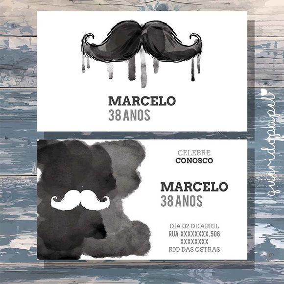 Convite Bigode, Convite Mustache, Convite Aquarela
