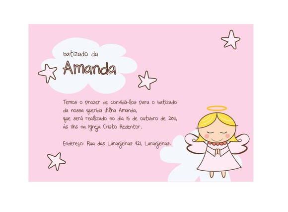 Angel Convite De Batizado Virtual