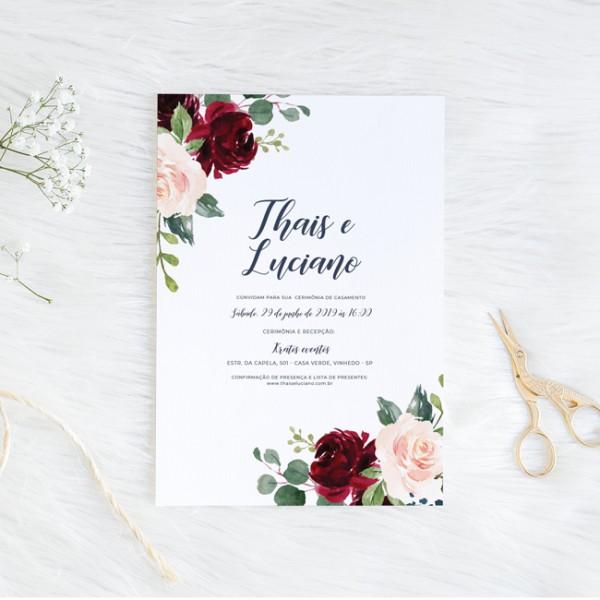 Convite De Casamento Marsala E Rosa Chá (virtual + Arte Para