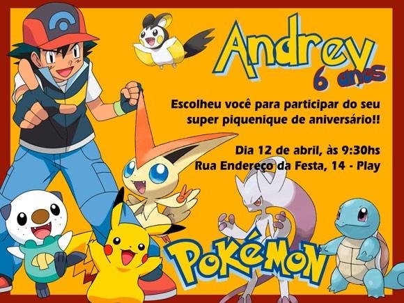 Arte Digital Convite De Aniversário Pokemon No Elo7