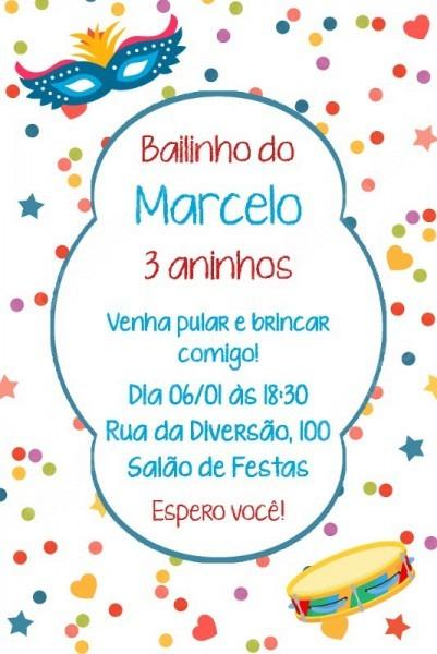 Arte Convite Digital Aniversário Bailinho De Carnaval Menino