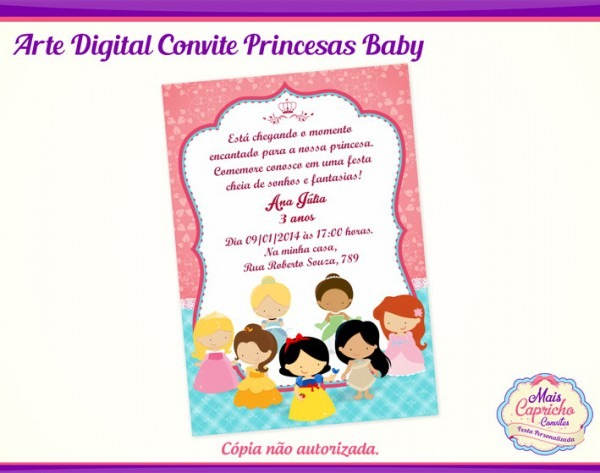 Arte Convite Digital Princesas Baby No Elo7