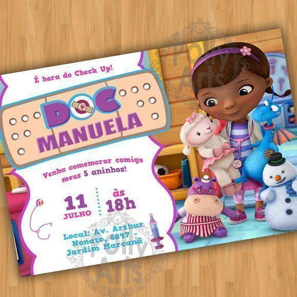 Arte Convite Digital Virtual Doutora Brinquedos