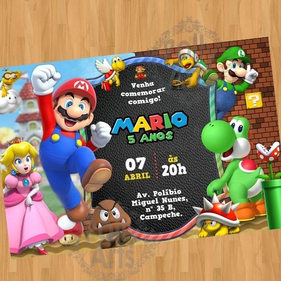 Arte Convite Digital Virtual Super Mario Bros