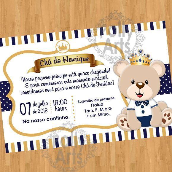Arte Convite Digital Virtual Ursinho Príncipe Cha Ou Niver