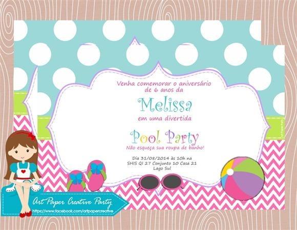 Arte Convite Pool Party No Elo7