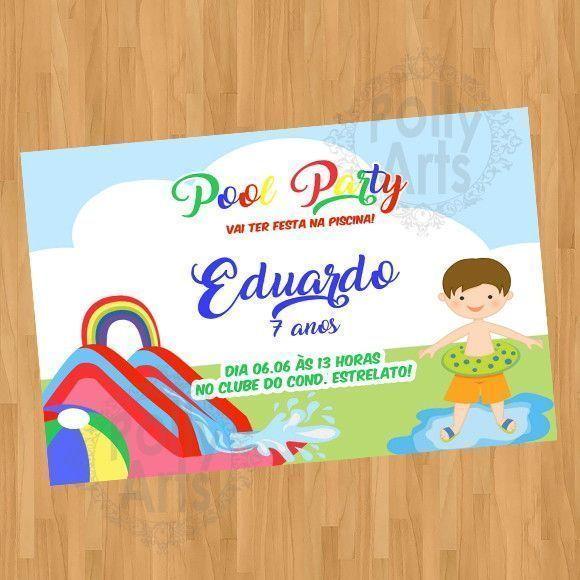 Arte Convite Pool Party Piscina Menino Digital Virtual