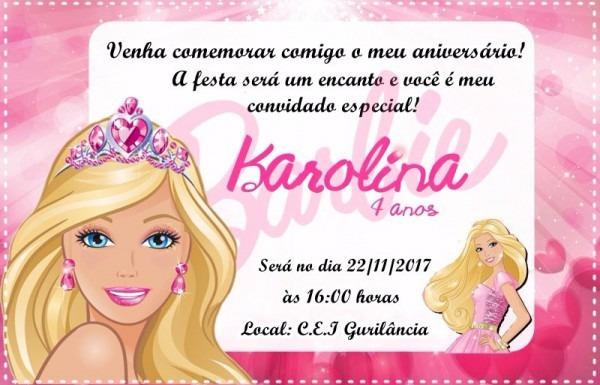 Arte Digital Convite Barbie