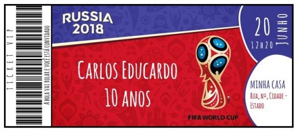 Arte Digital Convite De Aniversário Copa Do Mundo Fifa 2018
