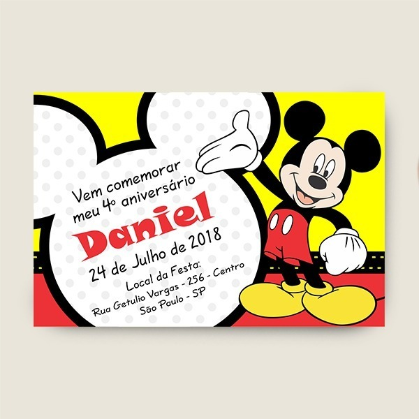 Arte Digital Convite Mickey Mouse Para Imprimir