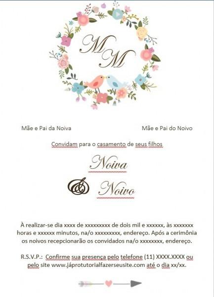 Arte Para Convite De Casamento 3 Modelos Layout Passaros